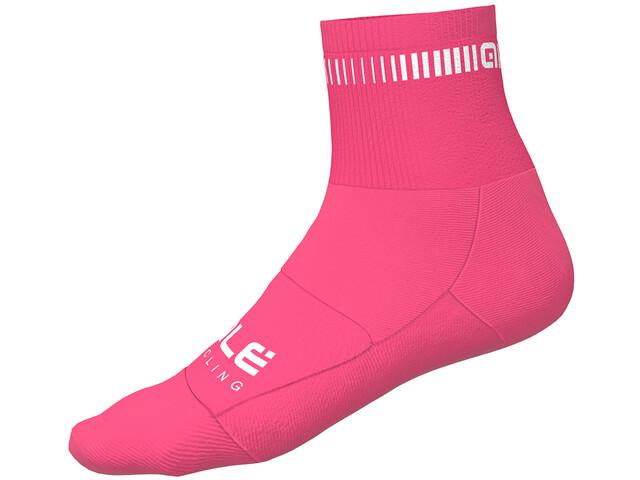Alé Cycling Logo Fietssokken 8cm, flou pink-white